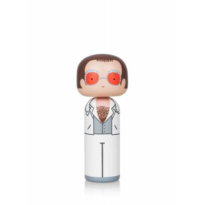 ELTON IN WHITE LARGE KOKESHI DOLL
